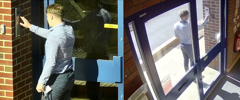 CCTV operators view of employee entering building
